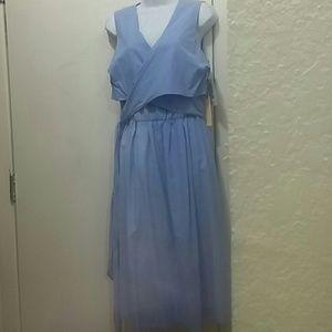 Sky blue summer sleeveless sundress v-neck size sm